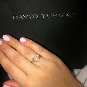 David Yurman Diamond 925 Silver Open Heart Ring